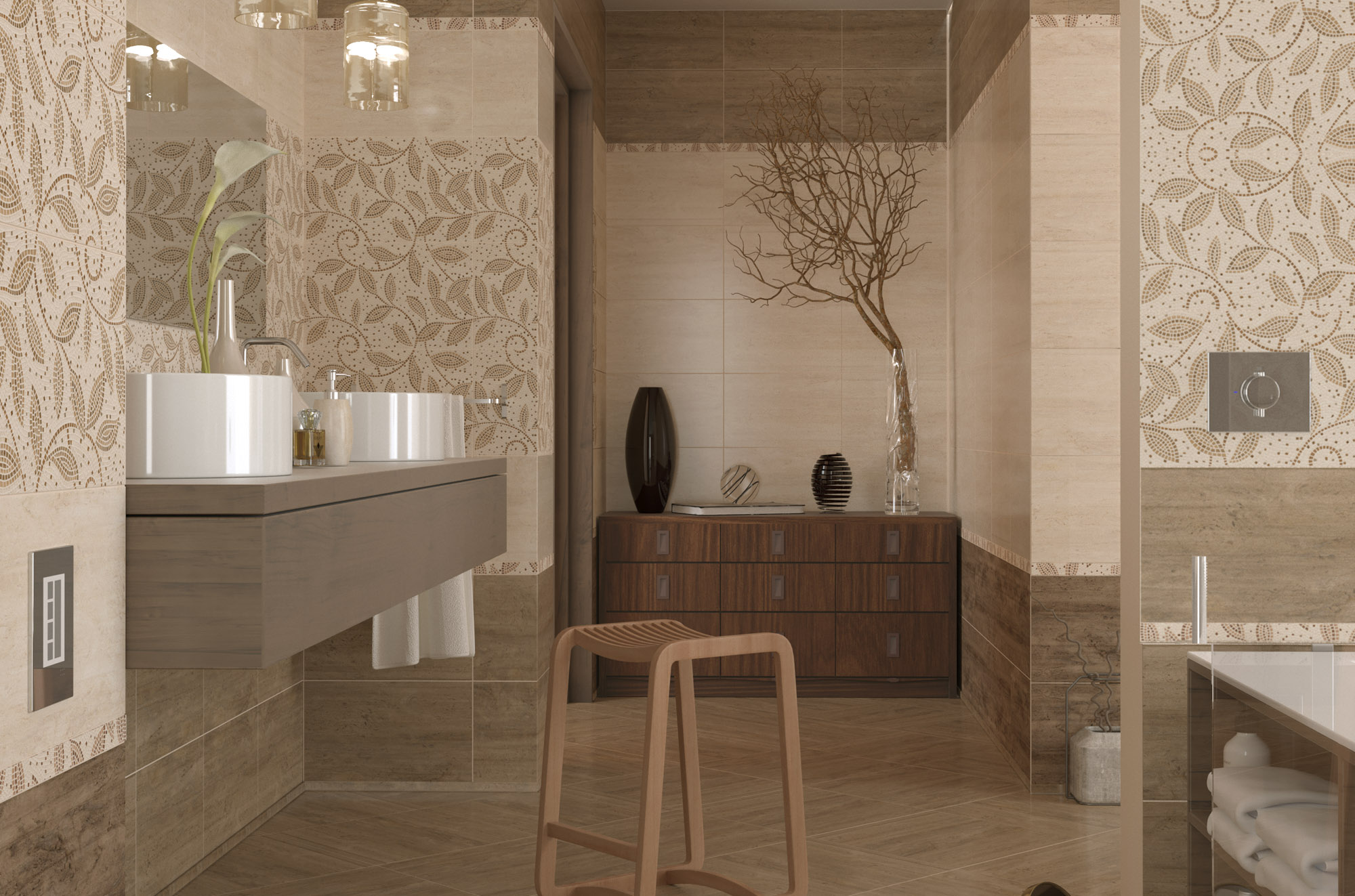 Travertine mosaic 25х40